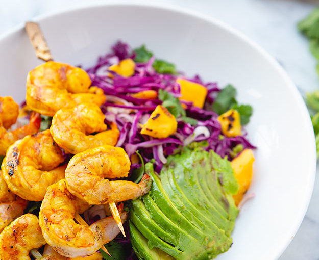 Grilled Turmeric Ginger Shrimp and Mango Avocado Slaw with Cilantro Lime Dressing: Fair Trade