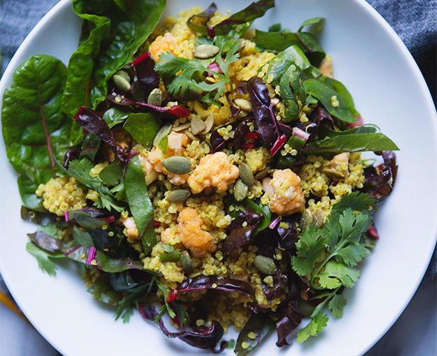Curry Cauliflower Quinoa Lentil Salad